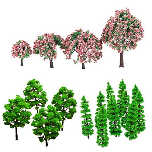 cs Modell Baum Bäume Zug Layout Garten Landschaft (10×Tannenbaum,4× Baum mit Rosa Blumen,10 Grün) ()