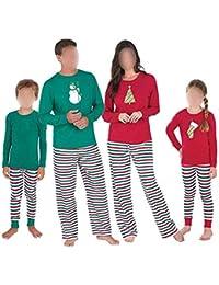 Hzjundasi Familia de Coincidencia de Patrones de Navidad Pijamas Set - Hombres Mujer Chico Niña Niños Bebé Xmas PJs Sleepwear Ropa de Dormir Manga Larga Blusa y Raya Pantalones