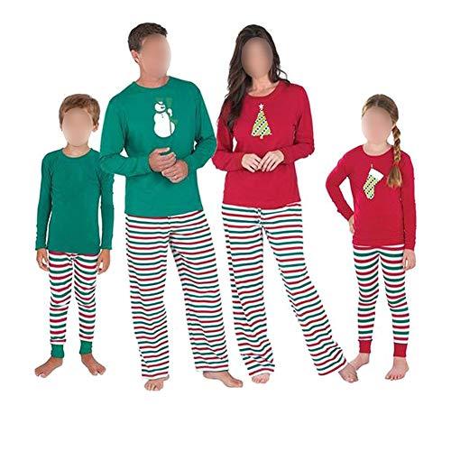 Hzjundasi Familie Matching Weihnachten Muster Pyjama Set - Herren Damen Junge Mädchen Kinder Baby Xmas PJs Schlafanzüge Nachtwäsche Lange Ärmel Bluse und Streifen Lange Hosen
