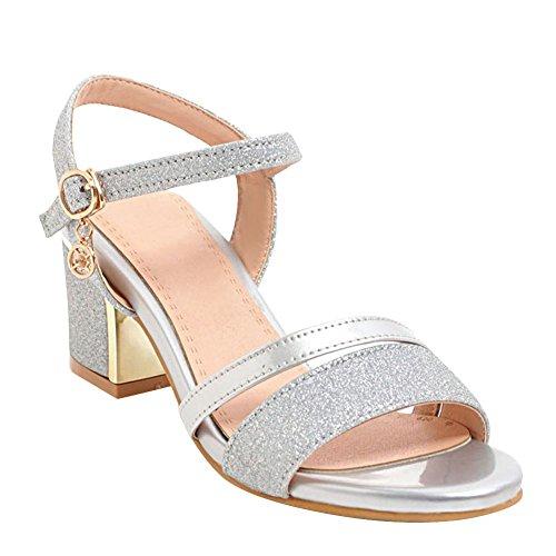 Misssasa donna sandali elegante (35, argento)