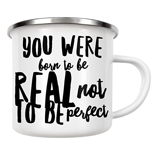 "artboxONE Emaille Tasse ""Born to be real not perfect"" von WAM - Emaille Becher Sport / Motivation"