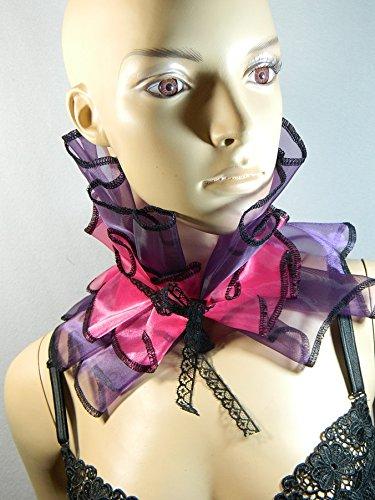 Tänzerinnen Burlesque Kostüm - Kragen lila pink Halskrause Halskorsett Harlekin Clown Kostüm Karneval Burlesque