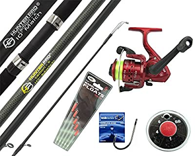 Hunter Pro® 10' Carbon-X Complete Beginners Starter Float Match Fishing Kit Rod & SY200 Reel With Line & Tackle Set by Hunter Pro