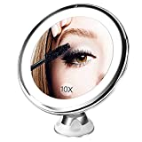 BESTOPE Kosmetikspiegel LED Beleuchtet mit 10X Vergrößerung und Saugnapf Make-up Spiegel Schminkspiegel  Batteriebetrieben Badspiegel für Zuhause und Reise