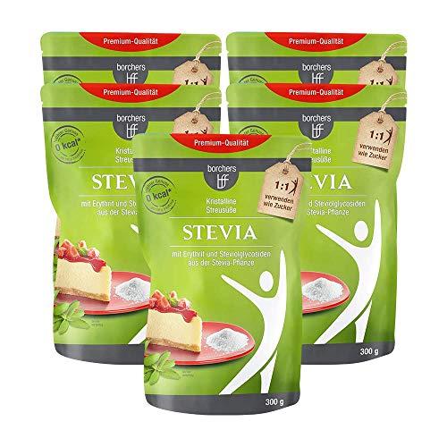 5 x borchers bff Stevia Kristall, mit Erythrit, Kalorienfrei, Rebaudiosid A, Zuckeralternative, Süßungsmittel 300g