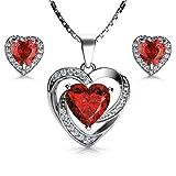 DEPHINI - Juego de collar y pendientes de corazón rojo - Plata de ley...