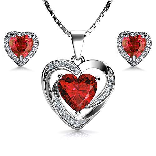 DEPHINI - Set collana e orecchini a cuore rosso - ...