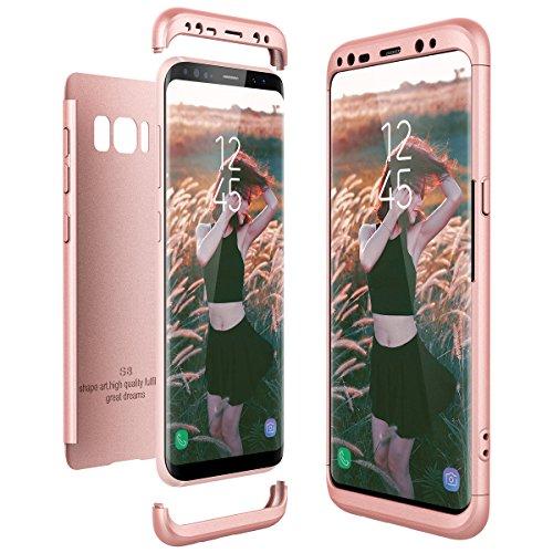 CE-Link für Samsung Galaxy S8 Hülle Hardcase 3 in 1 Handyhülle Ultra Dünn Hartschale 360 Grad Full Body Schutz Schutzhülle Anti-Kratzer Elegant Glatte Rückseite Bumper - Rosegold