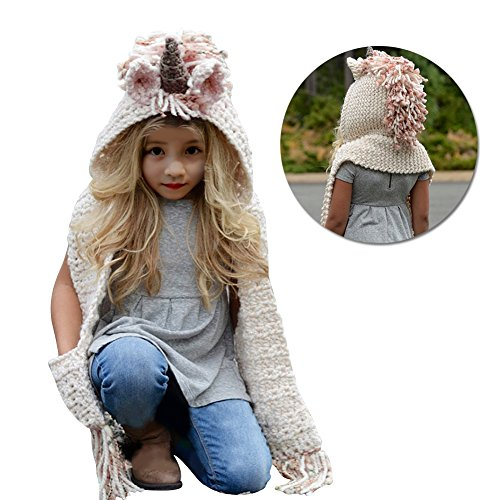 0c8a3636b5d Vandot Winter Warm Exclusive Cute Unicorn Hat Kids Baby Girls Boys Toddler  Hat Scarf Shawls Gloves Pocket Earflap Set Woolen Knitted Crochet Coif  Hooded ...