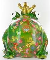 Spardose großer Froschkönig grün mit Schmetterlingen von ...