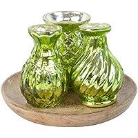 Stile Vintage Verde in vetro mercurizzato 3pc Set Vaso su vassoio in legno