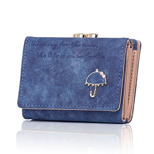 APHISON Damen Dreiseitige Geldbörse Wildleder Tasche Leder Portemonnaie Ledertaschen Blau| rot | grau (Geldbörse Damen Wildleder)