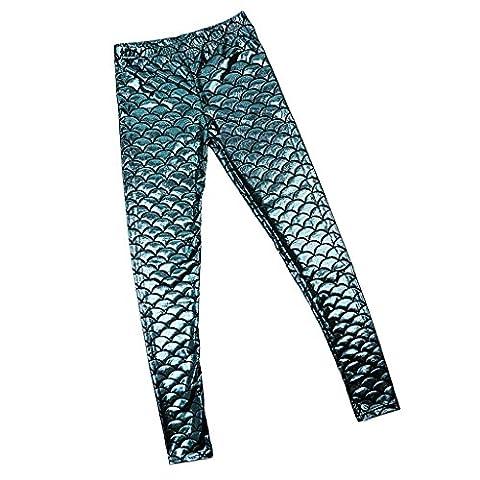 Damen dehnbar Leggings Glänzend Meerjungfrau Fisch Schuppen Print Strumpfhose Hüfthose in viele Farbe - wie bild, XL
