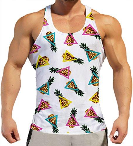 Rave on Friday Camisetas Tirantes Hombre Triángulo Piña Diseño Verano Confortable Hawaiano Playa Vacaciones L