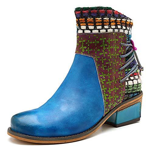 LEFT&RIGHT Frauen Stiefeletten Winter Warm Schnee Stiefel Leder Low Block Heel Stiefel Casual Seitlichem Reißverschluss Oxford Buckle Bootie Handgemachte Spleißen Muster Stiefel,EU:41Footlength:26Cm - Handgemachte Booties