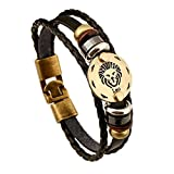 MeiPing 12 Constellation Braided Rope Leather Unisex Bracciale Segno zodiacale