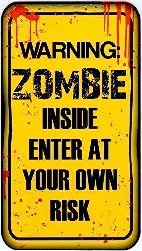 40cm x 22cm Halloween Hängende Zeichen Dekoration Schild - Warnung Zombie Im Inneren