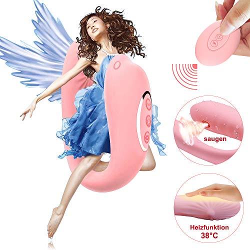 #Paarvibrator Partner Vibratoren mit Sauger Funktion und Heizfunktion, Klitorisstimulator für Sie G-Punkt Stimulation mit Fernbedienung, 8 Vibrationsmodi und 6 Saugintensitäten, Doppeltem Motor (Rosa)#