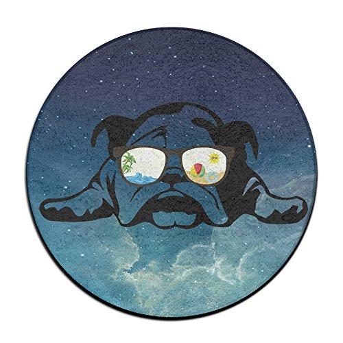 Unbekannt Bulldog Sonnenbrille Urlaub Modus Anti-Rutsch-Matten Zirkular Teppich Mats Esszimmer Schlafzimmer Teppich Fußmatte 59,9cm