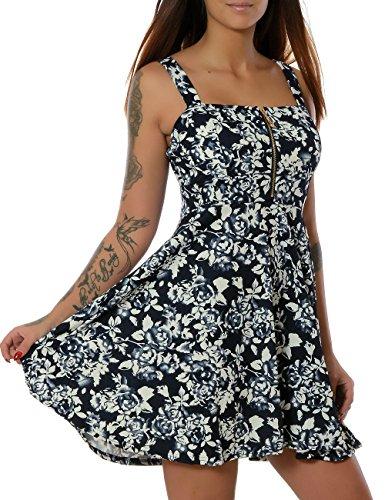 Damen Rockabilly 50er Jahre Sommer Kleid Pin-Up (weitere Farben) No 15553, Farbe:Navy;Größe:S / (Jahre Kostüme 50er Pin Up Mädchen)