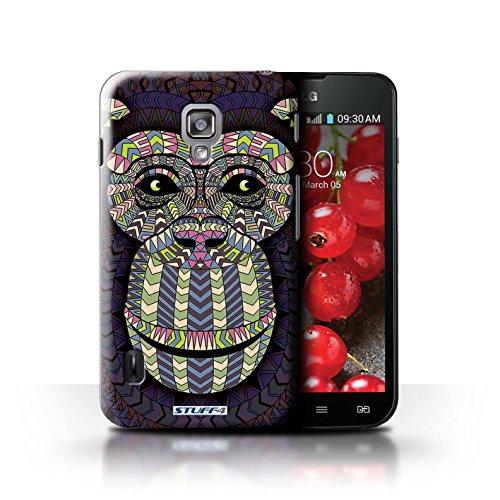 Kobalt® Imprimé Etui / Coque pour LG Optimus L7 II Dual / Loup-Pourpre conception / Série Motif Animaux Aztec Singe-Couleur