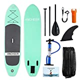 YUEBO 305cm Aufblasbares SUP Stand-up Paddel Board 15cm Dickes, iSUP Paddle Board mit Doppelhub-Pumpe + 3-tlg. verstellbares Paddle + grosse Tragetasche (AS10_Aqua upgrade_305 x 81 x 15cm)