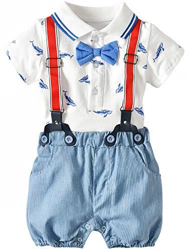 CARETOO 2tlg Baby Jungen Bekleidungssets Strampler Kurze Ärmel T-Shirt + Hose mit Hosenträger und Bowknot, Weiß, Gr.-Etikett 70 (Körpergröße 60-70 cm)