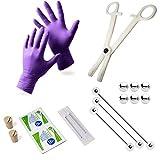 BodyJewelryonline Adulto 17 pezzi Industrial Piercing Kit - 3 bilancieri, tappi, aghi, guanti, pinzette, Replacet palle + salviette