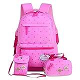 FOLLOWUS Leinwand Schulrucksack Schultertasche Mittagessen 3 Set für Jugendlich Mädchen (Pink)