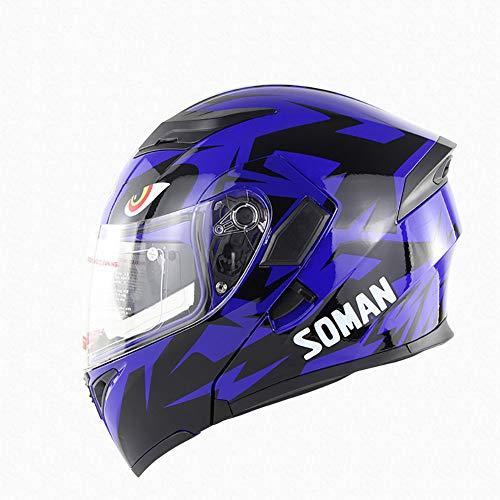 LTK. one Motorradhelm, Herren- und Damen-Doppelhelm, UV-Schutz-Offroad-Helm, Sicherheitszertifizierung, ECE DOT-Doppelzertifizierung (lila),M -