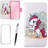 iPhone 7/8 Schutzhülle MISSDU Wallet Case Cover HandyHülle + Free Screen Protector, Touch Pen - Einhorn