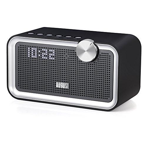 August SE55 - 2x10W Bluetooth Lautsprecher mit EQ, FM Radio und 3,5mm Audio Eingang (schwarz)