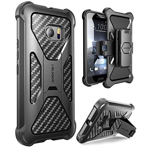 HTC 10 (2016 Release) Hülle , i-Blason Prime Serie - 2-Schicht Holster Schutzhülle / Tasche / Gehäuse / Zubehör mit Standhalter, schwenkbaren Gürtelschnalle mit Locking-Mechanismus (Schwarz)