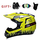 Yedina Adult Motocross Helm ATV Scooter Offroad Helm D.O.T Zertifizierung, Geschenkhandschuhe Maskenbrille (S, M, L, XL),S