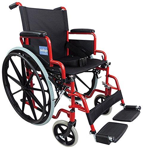 Aidapt VA166RED Transport-Rollstuhl aus Stahl zum Selbstantrieb