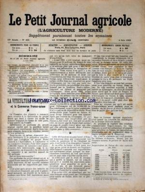 PETIT JOURNAL AGRICOLE (LE) [No 492] du 04/06/1905 - LES CHAMPS - LA FERME - LES VIGNES - PETITES CULTURES - LA VITICULTURE FRANCAISE ET LE COMMERCE FRANCO-SUISSE par Collectif