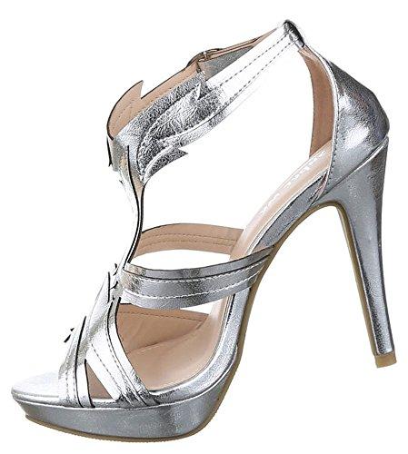 d8c7fa118dd3 ... Damen Sandaletten Schuhe High Heels Pumps Stilettos Plateau Schwarz Blau  Silber 36 37 38 39 40 ...