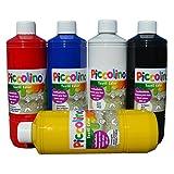 PICCOLINO Textilmalfarben Set - Primärfarben 5x500 ml - Stoffmalfarben Primär-Rot, Primär-Gelb, Primär-Blau, Schwarz, Weiß