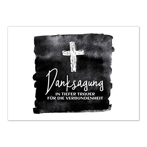 15 x Trauerkarten Danksagung (mit Kreuz) mit 15 Umschlägen im Set - Danke nach Trauer, Beerdigung, Sterbefall, Friedhof, Begräbnis