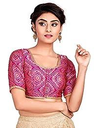 1883d17b896f7a Salwar Studio Women s Pink Brocade Readymade Padded Saree Blouse (SSB1960-PINK Size-32-