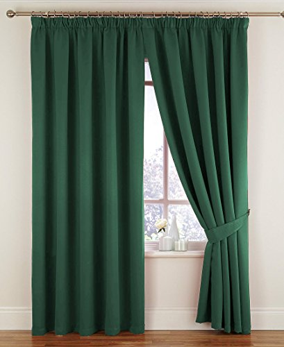 Montreal Lined Velour Soft Touch Tape Top Curtains (Pair) – 66″ x 90″ – Finished in Bottle Green