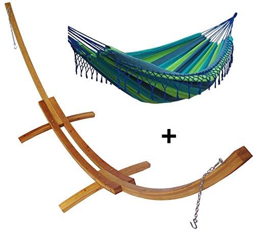 Support demi lune double bois mélèze et son hamac double à franges vert bleu, hamac détente