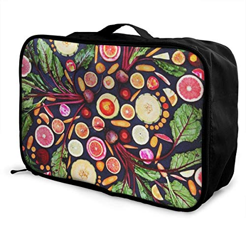 Portable Luggage Duffel Bag Vegan Live Fruits Vegetables Travel Bags Carry-on In Trolley Handle