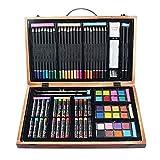 speuto Holz Art Set–(80Stück) Deluxe Kunst Kreativität Set und Professional Art Set Box für Färbung Anfänger, Academy Holz Box Art-Kit Tolles Geschenk für Künstler, Erwachsene Teens und Kinder,