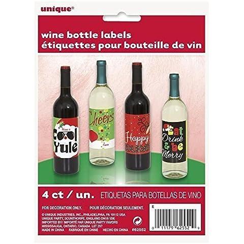 Festa di Natale bottiglia di vino etichette x 4 - Vino Di Natale Etichetta
