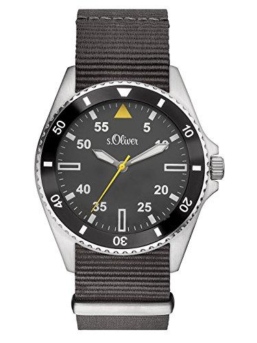 s.Oliver - SO-3130-LQ - Montre Homme - Quartz - Analogique - Bracelet Textile gris