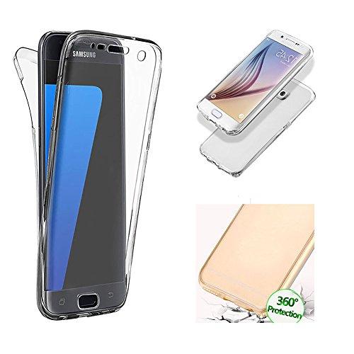 Handytasche für Samsung Galaxy S7 Edge, CESTOR [Ultra-Weiche Clear Silikon] Dual-Layer 360 Grad Luxus Durchsichtig TPU Fester Farbe Kratzfest Schutzhülle für Samsung S7 Edge, Klar