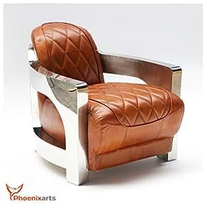Fauteuil en cuir style vintage en acier inoxydable design aviateur fauteuil lounge canapé mobilier 554 neuf