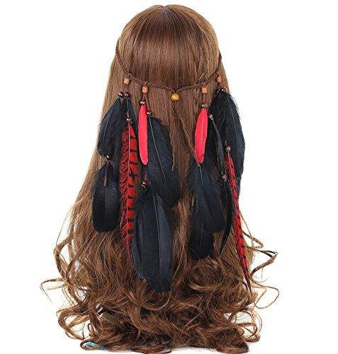 Party Haar Schmuck Boho Stil Haarband Stirnband mit Quaste Federn Anhänger