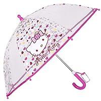 Hello Kitty Umbrella - Clear Transparent - Long Domed Perletti Umbrella for Girls - Fiberglass Ribs Wind-Resistant and Sturdy - Manual Open - 64 cm Diameter